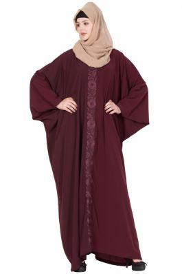 Kaftan Abaya With Embroidery -Maroon
