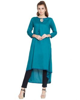Soniyo-Asymmetrical Kurti-Midnight Blue-Rayon
