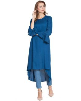 Afra-Simple And Stylish Low-High Kurti With Bell Sleeves