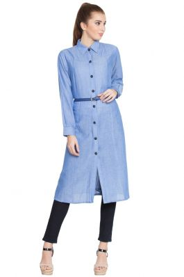 Roma-Long Tunic With Belt-Blue