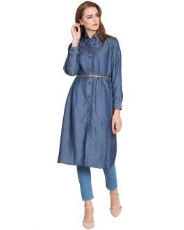 Aima-Long Tunic With Belt-Blue-Silk Denim-Blue