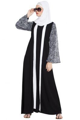 Callista-Printed Sleeves Closed Shrug Abaya-Black-White