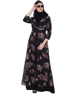Black Print-Shrug Abaya
