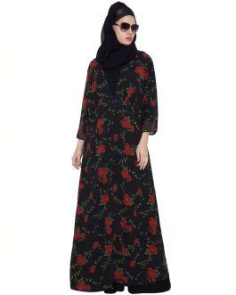Black Red Print Shrug Abaya