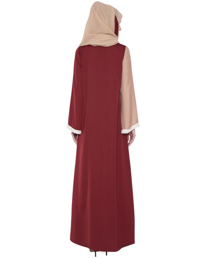 Dual Color Abaya With Imported Pearl Lace
