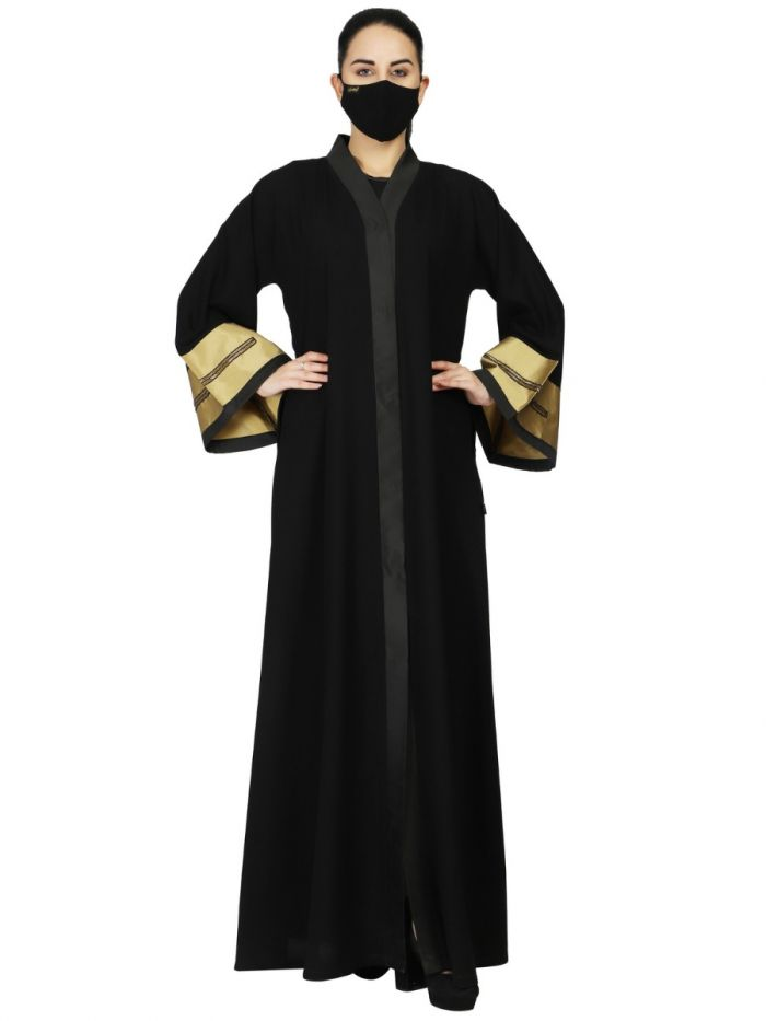 Front Open Abaya Like Dress With Handwork On Golden Sleeves. It Comes With A Matching Hijab.