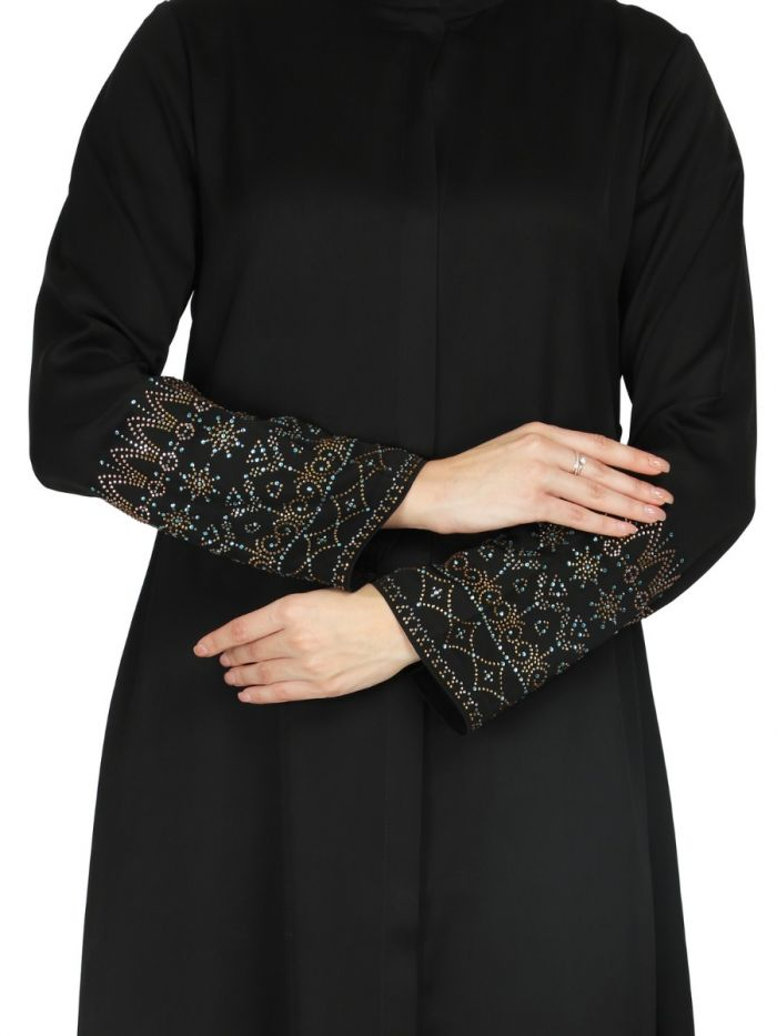 Front Open Abaya With  Premium Stone Embellishments. It Comes With A Matching Hijab.