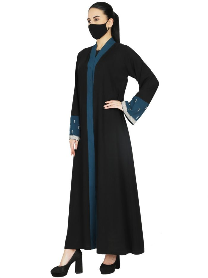 Front Open Abaya With Contrast Panels and Handwork Embellishments. It Comes With A Matching Hijab.
