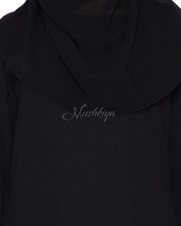 Black Abaya With Golden Embroidered Lace