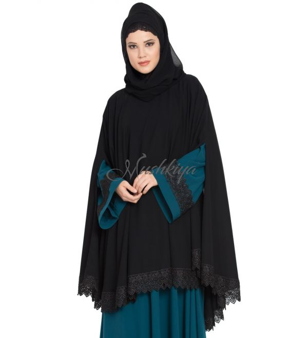 Abaya Cape with Lacework and Long Slits-Black