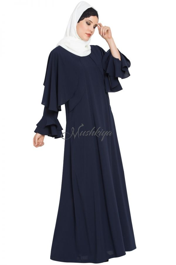 Designer Dress With Cape and Bell Sleeves-Not An Abaya