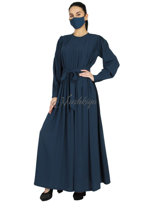 Abaya With Multiple Pleats And Belt. Comes With A Matching Hijab.