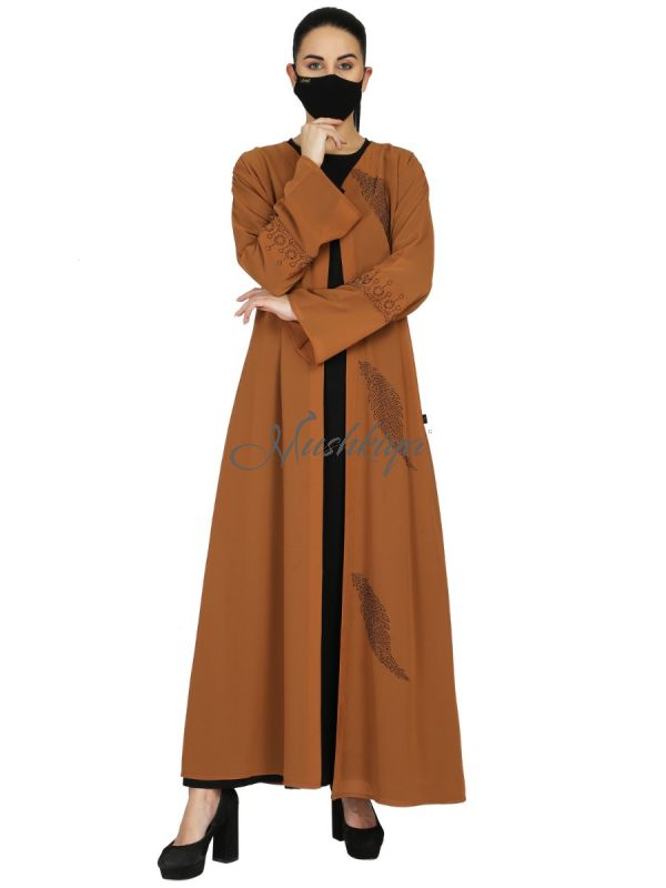 Dual Layer Abaya With Separate Shrug, Abaya can be use as separately ,Comes with Matching Hijab.