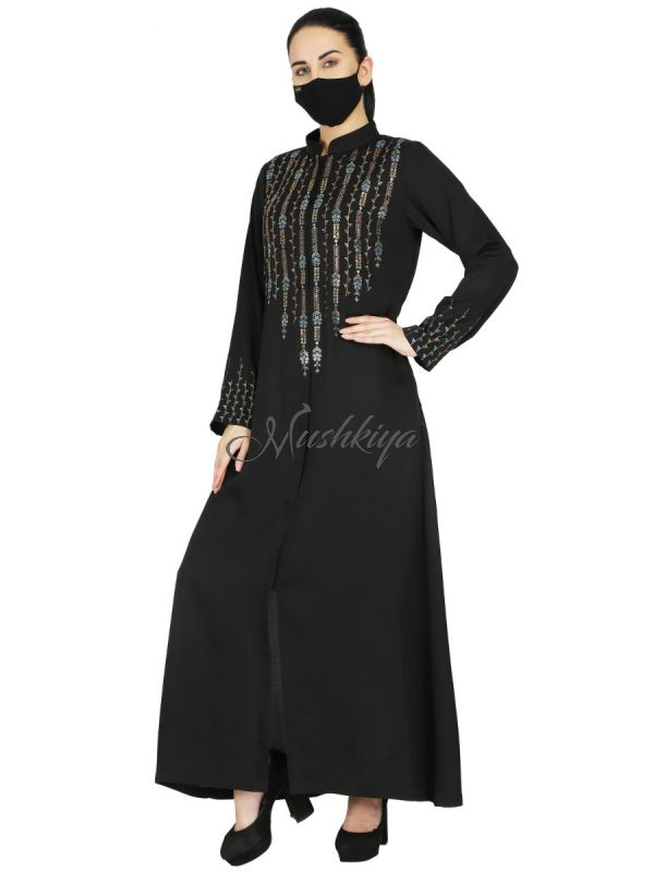 Front Open Abaya Like Dress With  Premium Stone Embellishments. It Comes With A Matching Hijab.