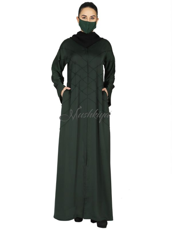 Elegant- Front Open Abaya With Criss-Crossed Pleats. Comes With A Complementary Hijab.