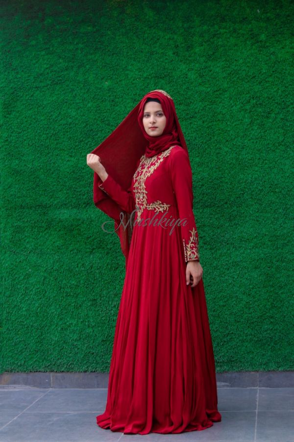 Designer Dress with Hand Embellishments on Bodice and on Sleeves, comes with matching Hijab.
